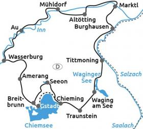 Cycle Tour Chiemgau & Rupertiwinkel - map