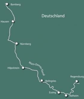 Bavaria by Boat & Bike - MS La Belle Fleur - map