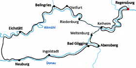 Cycling tour Danube & Altmuehl valley - map