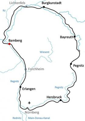 Cycling tour in Franconia - map