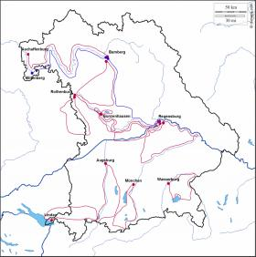 Cycling Holidays in Bavaria - map